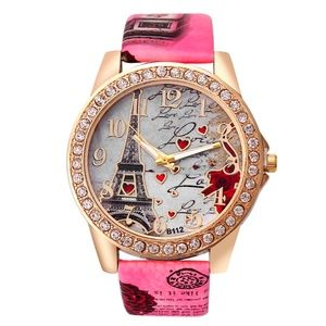 Accessories - Eifel Tower Quartz Analog Pink Heart Watch B20